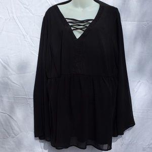 Torrid Long sleeve black blouse
